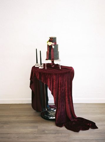 Burgundy Velvet Table Runner | Velvet Table Runner - Partycrushstudio