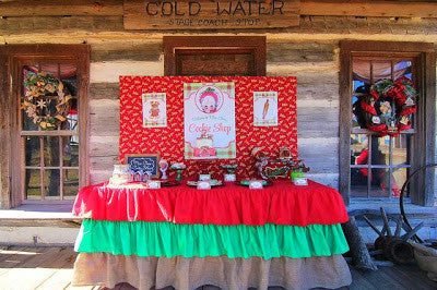 Ruffle Burlap Christmas Inspired Tablecloth - Partycrushstudio