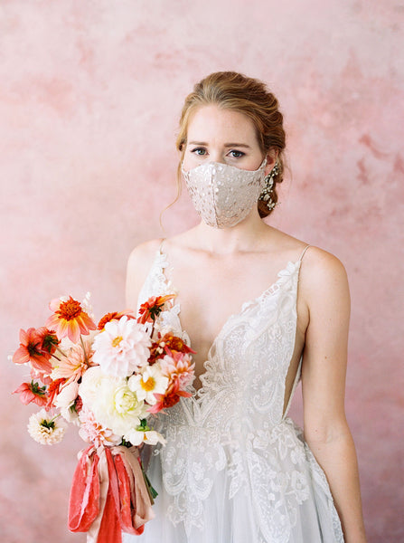 Ivory Sequin Facemask | Bridal Facemask