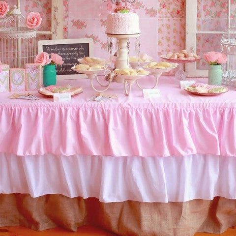 Best Ruffled Pink Burlap tablecloth