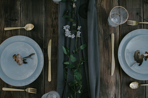 charcoal table runner for boho wedding tablescapes