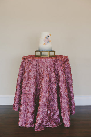 Rosette Tablecloth, Blush Rosette Table Linen, Romantic Wedding Table Decor - Partycrushstudio