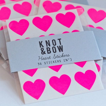 Neon Pink Gold Heart Stickers