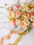 Peach Silk Ribbon | Yellow Silk Ribbon | Silk Ribbon