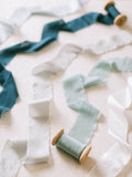 Pale Blue Silk Ribbon | Indigo Blue Silk Ribbon | Gray Silk Ribbon | Sky Blue Silk Ribbon | White Silk Ribbon | Silk Ribbon