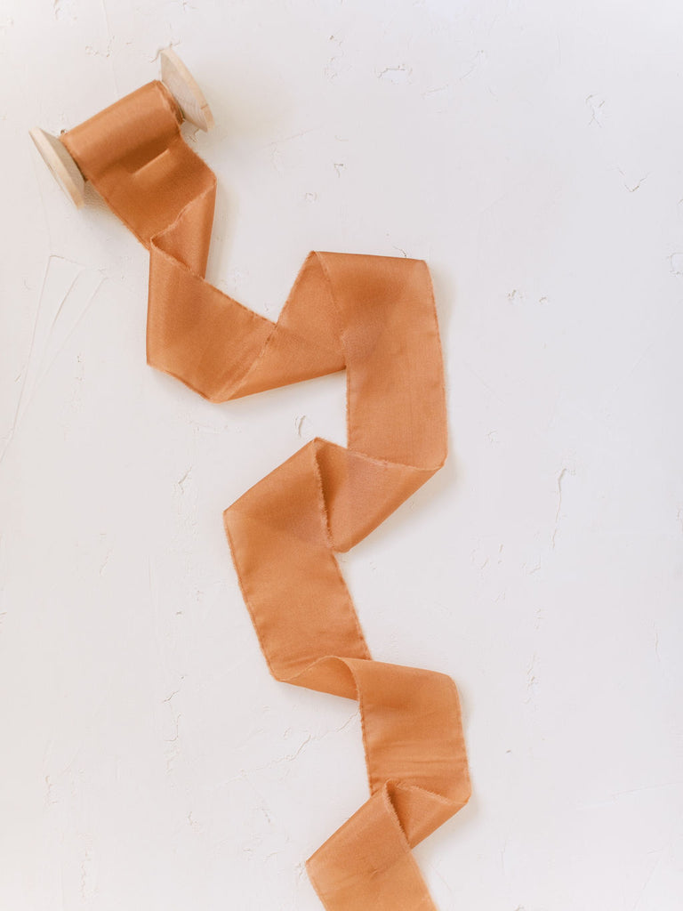 Rust Orange Silk Ribbon | Silk Ribbon