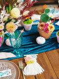 Turquoise Table Runner | Velvet Runner | Velvet Tablecloth