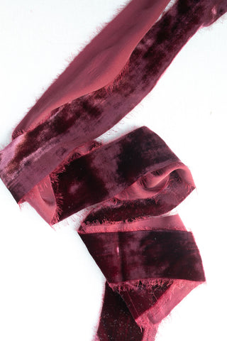 Burgundy Silk Velvet Ribbon | Pomegranate Silk Velvet Ribbon | Wine Silk Velvet Ribbon | Eggplant Silk Velvet Ribbon