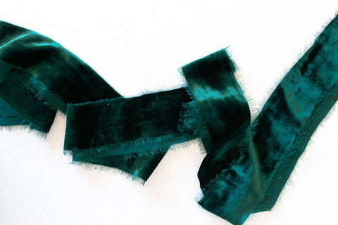 Emerald Silk Velvet Ribbon | Silk Velvet Ribbon