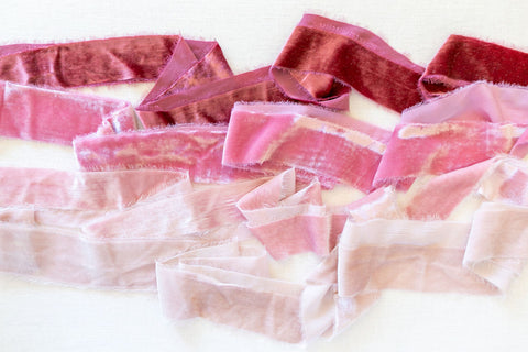 Ivory Silk Velvet Ribbon | Blush Pink Silk Velvet Ribbon | Antique Rose Silk Velvet Ribbon | Dusty Rose Silk Velvet Ribbon