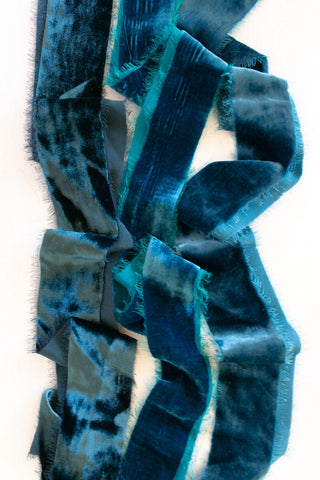 Dark Teal Silk Velvet Ribbon | Silk Velvet Ribbon
