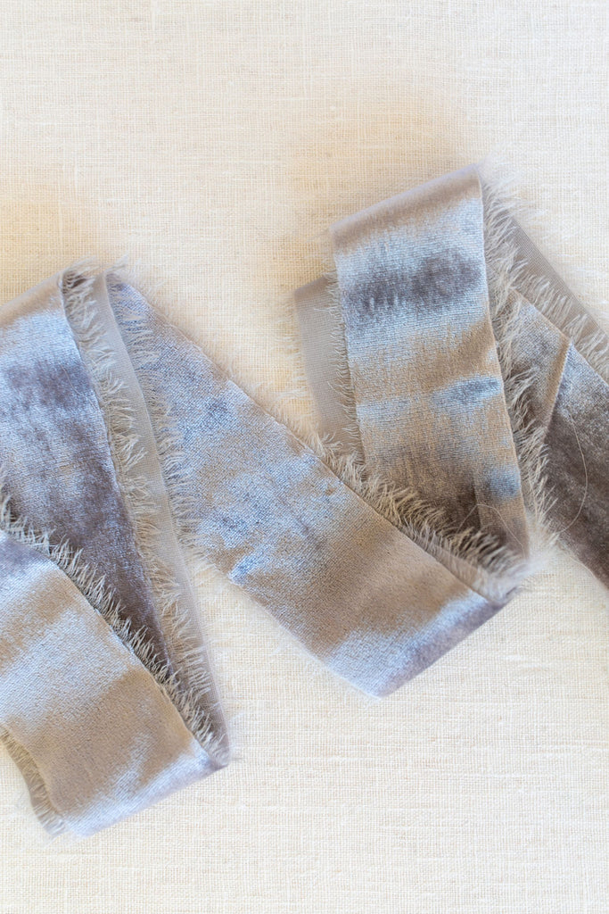Silver Silk Velvet Ribbon | Silk Velvet Ribbon