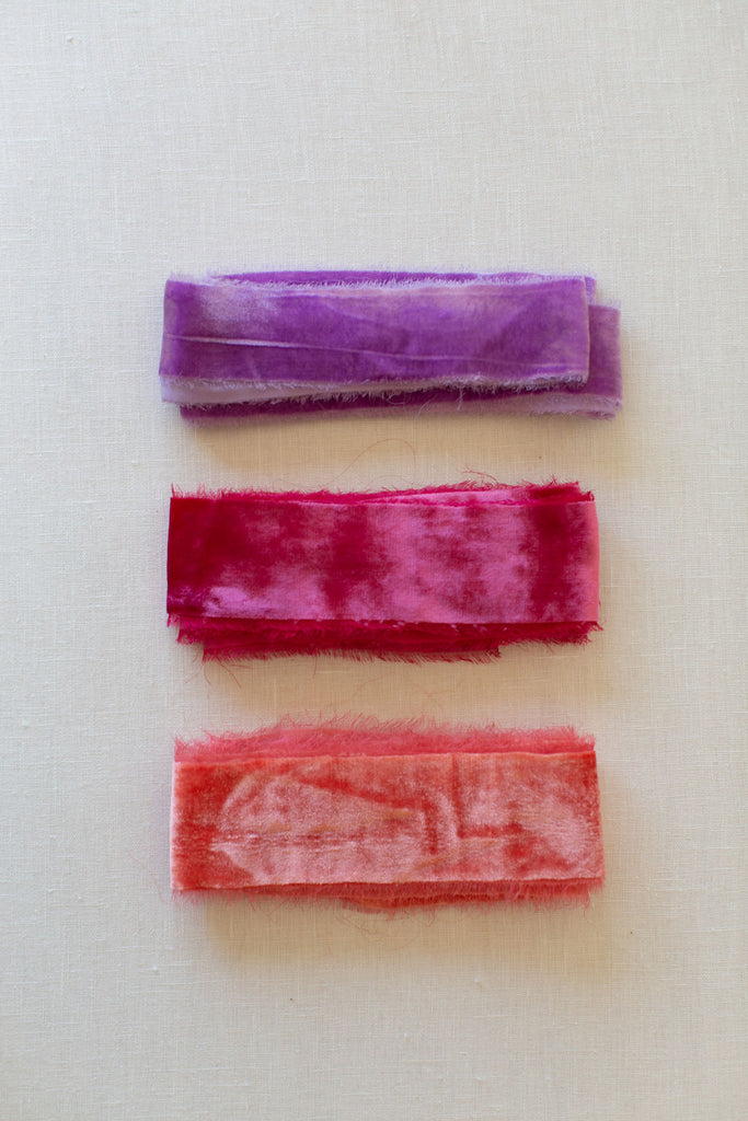 Lilac Purple Silk Velvet Ribbon | Pomegranate Silk Velvet Ribbon | Coral Silk Velvet Ribbon | Silk Velvet Ribbon