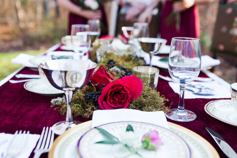 Maroon velvet table runner | velvet tabletop | vintage wedding table linen - Partycrushstudio