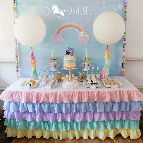 Pastel Rainbow Ruffled Tablecloth - Partycrushstudio