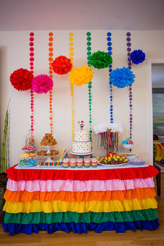 Rainbow Ruffled Tablecloth - Partycrushstudio