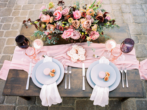 Blush Pink Silk Table Runner - Partycrushstudio