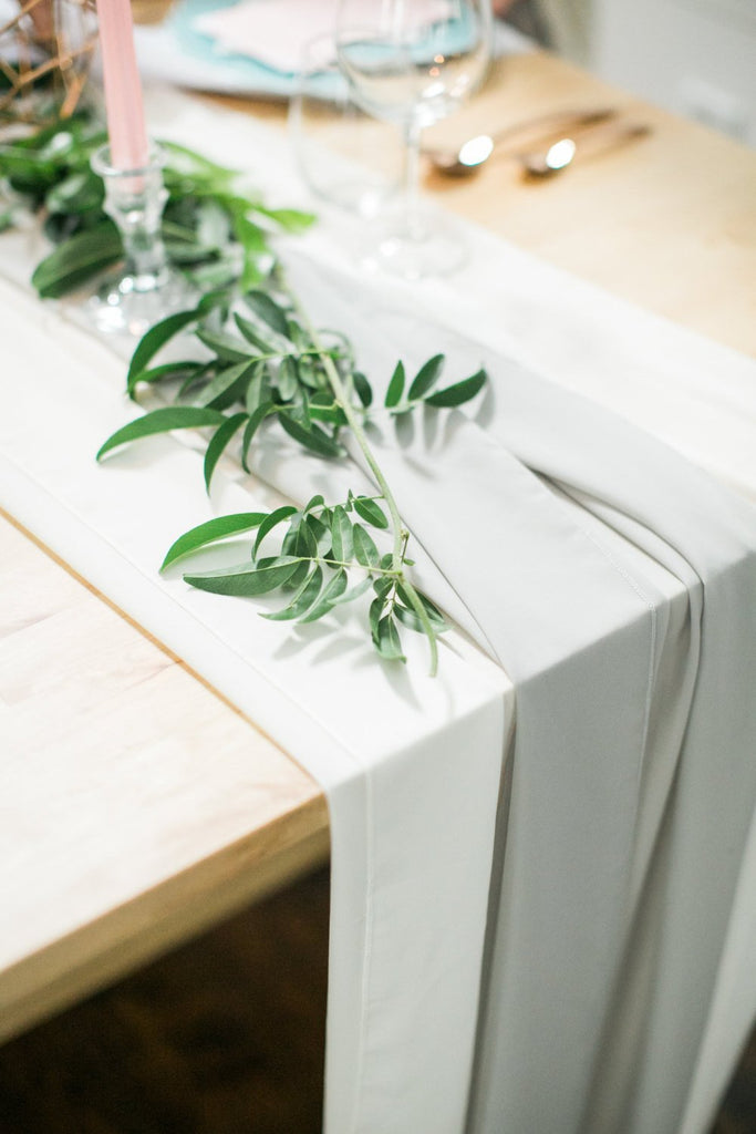 White Silk Chiffon Table Runner | Organic Wedding Silk Runner Party Crush Studio