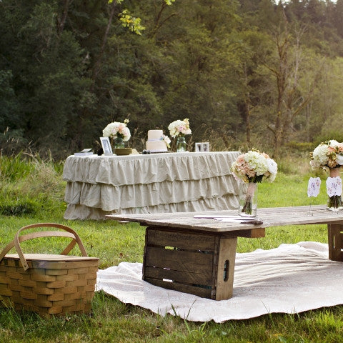 Natural Linen Ruffled Tablecloth