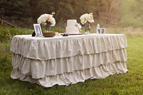 Natural Linen Ruffled Tablecloth - Partycrushstudio