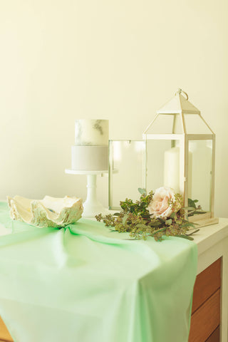 Mint Silk Chiffon Table Runner | Mint table decor | wedding - Partycrushstudio