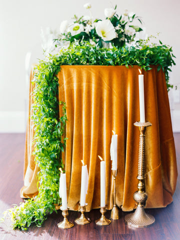 Golden Mustard Velvet Tablecloth - Partycrushstudio