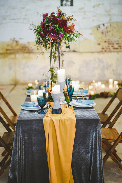 Velvet Tablecloth | Gray Velvet Tablecloth | Charcoal Gray Wedding | Gray Velvet table Linen | Velvet table runner