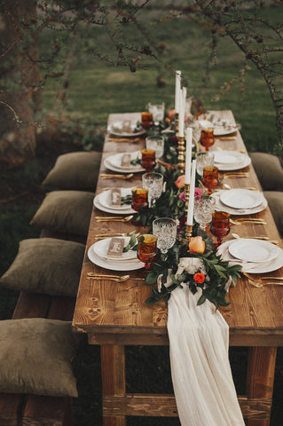 ivory table runner wedding head table | silk runner