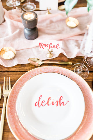 blush silk runner wedding ideas for styled shoot