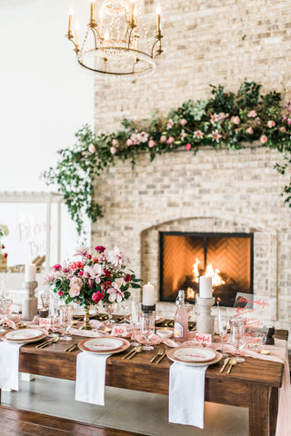 blush gauze runners valentine wedding inspiration