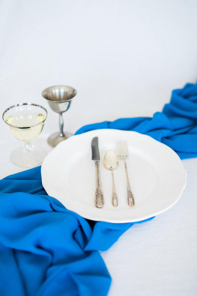 silk table runner | blue silk table runner | silk  runner | silk ribbon| aqua table runner | silk chiffon table runner |royal blue wedding - Partycrushstudio