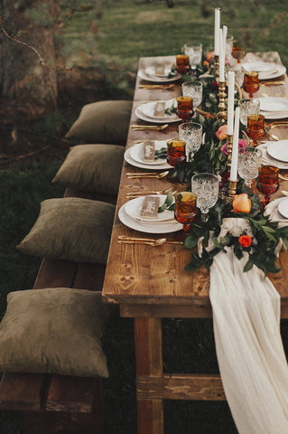 boho tablescape ideas | silk sheer runner | flowy table runner