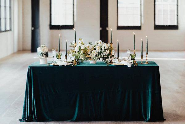 Emerald Velvet tablecloth | velvet table runner | Velvet runner | Velvet tablecloth | Velvet Linen | Velour Runner | wedding table decor - Partycrushstudio