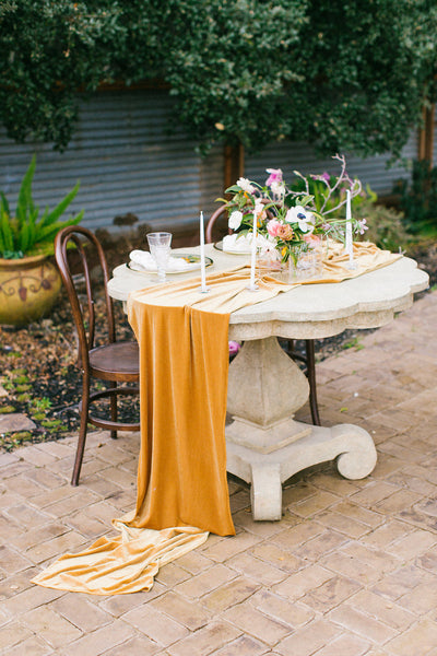 Velvet tablecloth | velvet table runner | Velvet tablecloth | Velvet Linen | Velour Runner | wedding table decor | mustard yellow wedding - Partycrushstudio