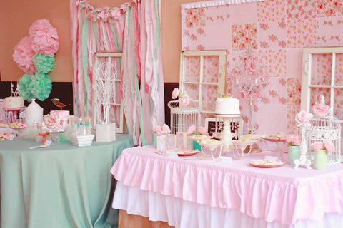 Ruffled Pink Burlap tablecloth - Partycrushstudio