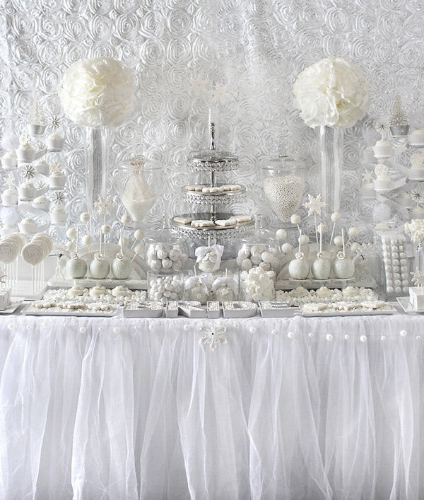White Tulle Tablecloth, tutu tablecloth, tutu tablecloth, tulle table skirt we can do custom size and color - Partycrushstudio