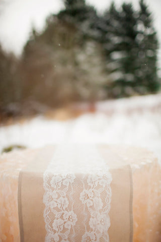 Natural Linen Lace Table Runner 12 x 108 - Partycrushstudio