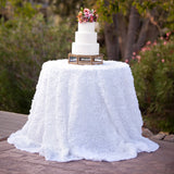 New Rosette White Chiffon Tablecloth