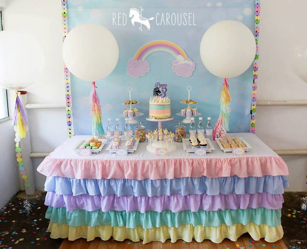 Pastel Ruffle Rainbow Tablecloth