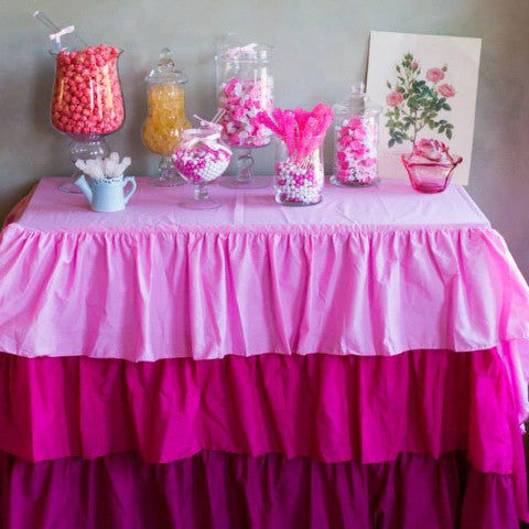 Pink Ombre Ruffled Tablecloth - Partycrushstudio