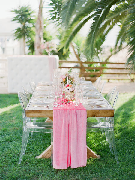 Pretty in Pink Flowy Velvet Table Runner