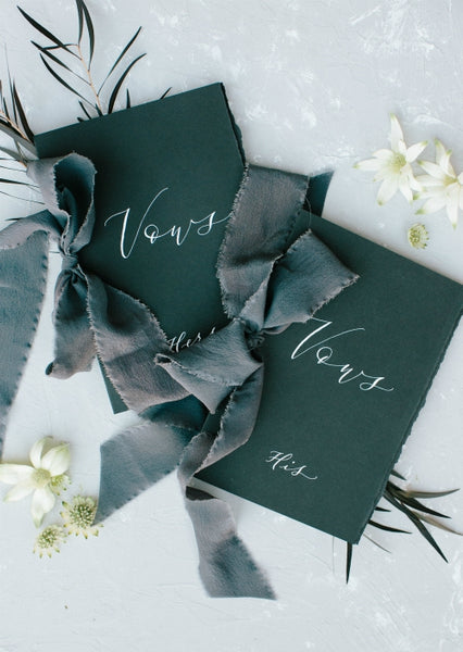charcoal silk ribbon | hand dyed ribbon | invitation ribbon