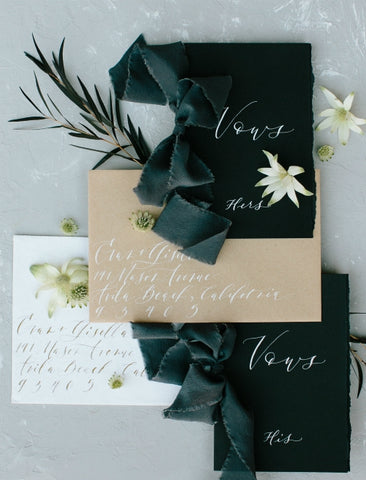 hand dyed silk ribbon | vow book wedding ideas