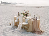 Ghost White Silk Table Runner