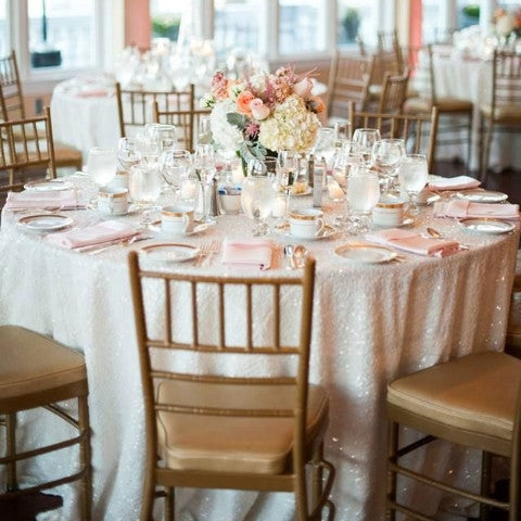 White Sequin Tablecloth custom sizes available - Partycrushstudio