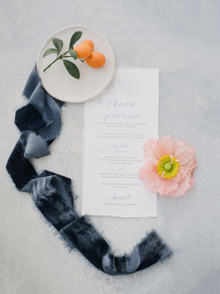 Midnight Blue Silk Velvet Ribbon - Partycrushstudio