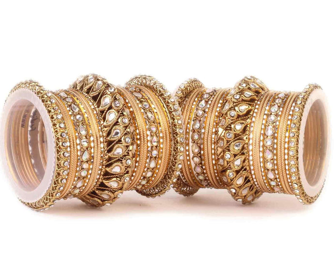 Kundan Bangle Set For Two Hands With Chakri Kada Golden