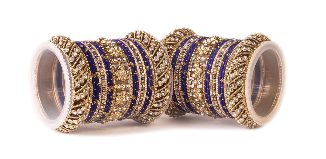 Traditional Blue Silk thread bangle set by Leshya for two hands