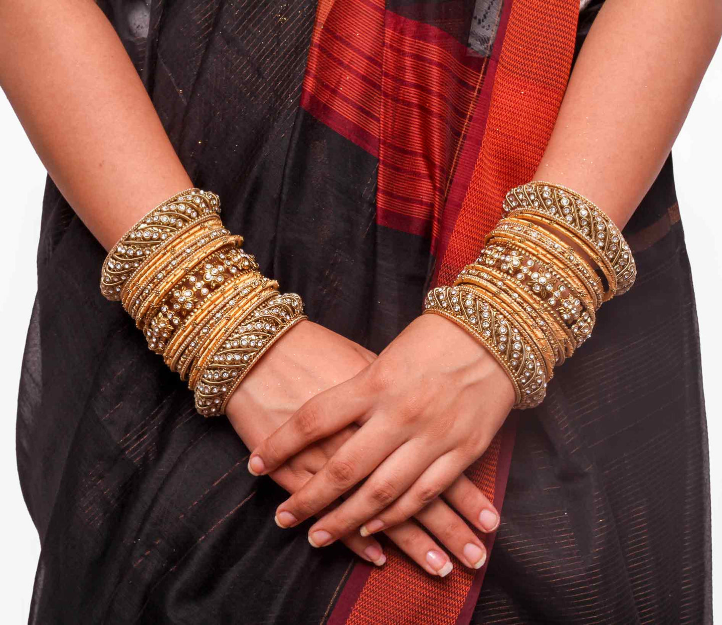 Traditional Golden Silk thread bangle set by Leshya for two hands ...