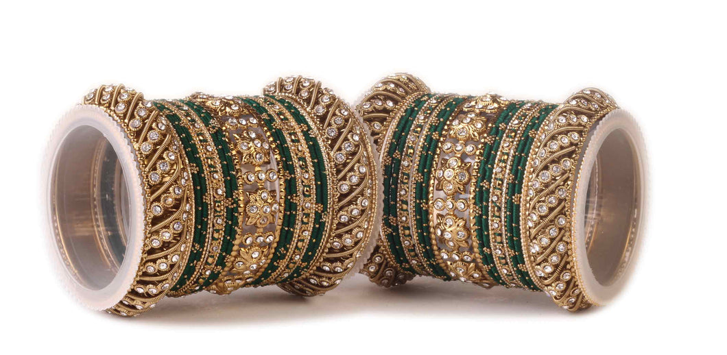 Traditional Green Silk thread bangle set by Leshya for two hands